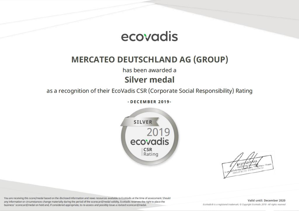Srebrna nagroda Eco Vadis dla Mercateo